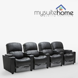 Sophie Black Leather 4 Seater Home Theatre Recliner Lounge Suite
