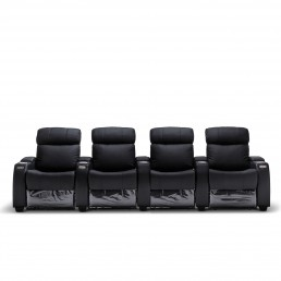 Anna Black Leather Electric Recliner Home Theatre Lounge Suite - 4 Seater
