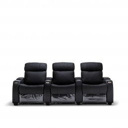 Anna Black Leather Electric Recliner Home theatre Lounge Suite - 3 Seater