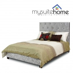 Rosie High Back Silver Grey Crushed Velvet Queen Size Fabric Bedframe
