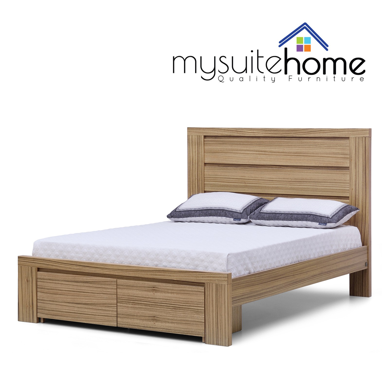 Jamel  African Walnut Veneer  Size Storage Drawer Bed Frame