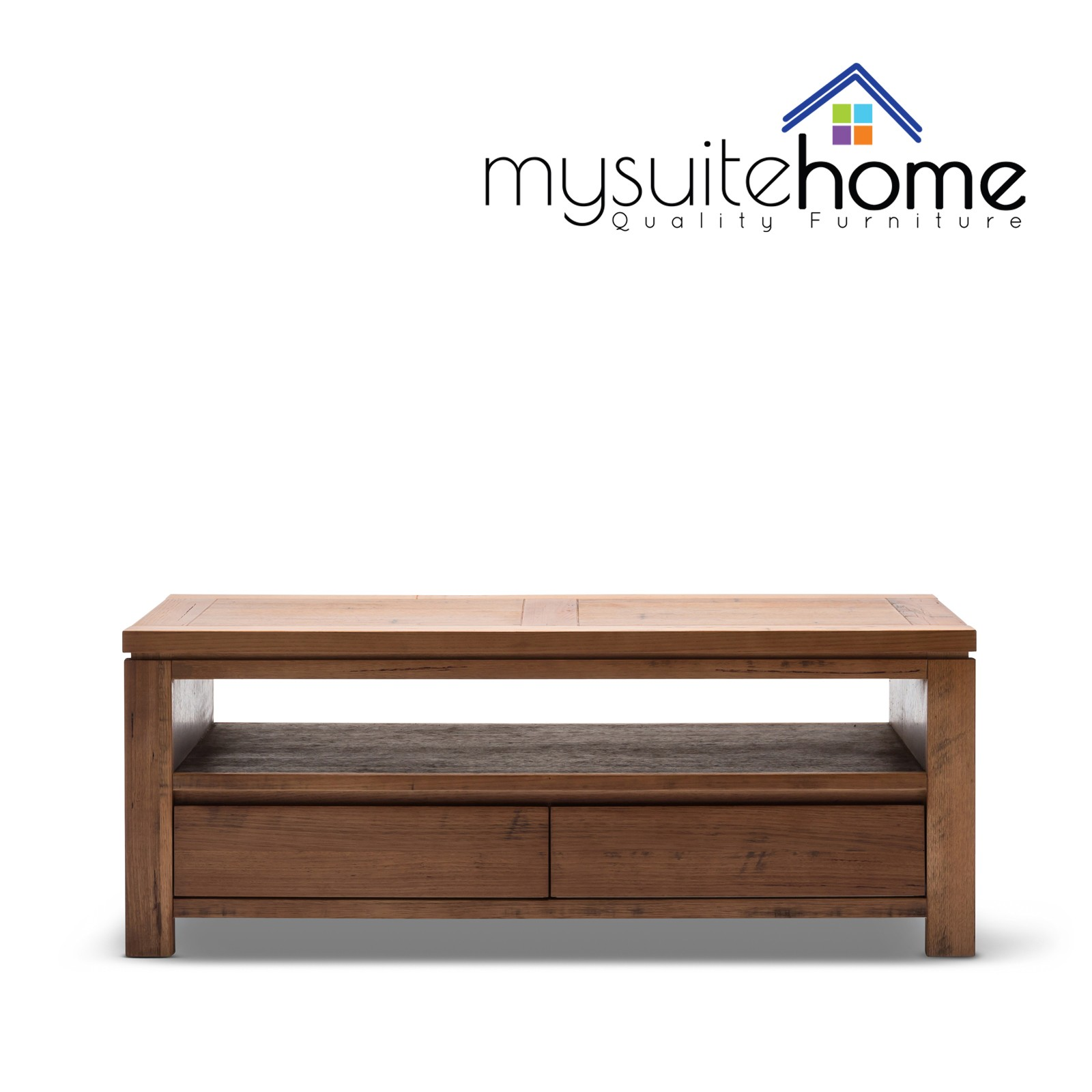 Packer Brand New Solid Tasmanian Oak Coffee Table with Storage Drawers and Shelf