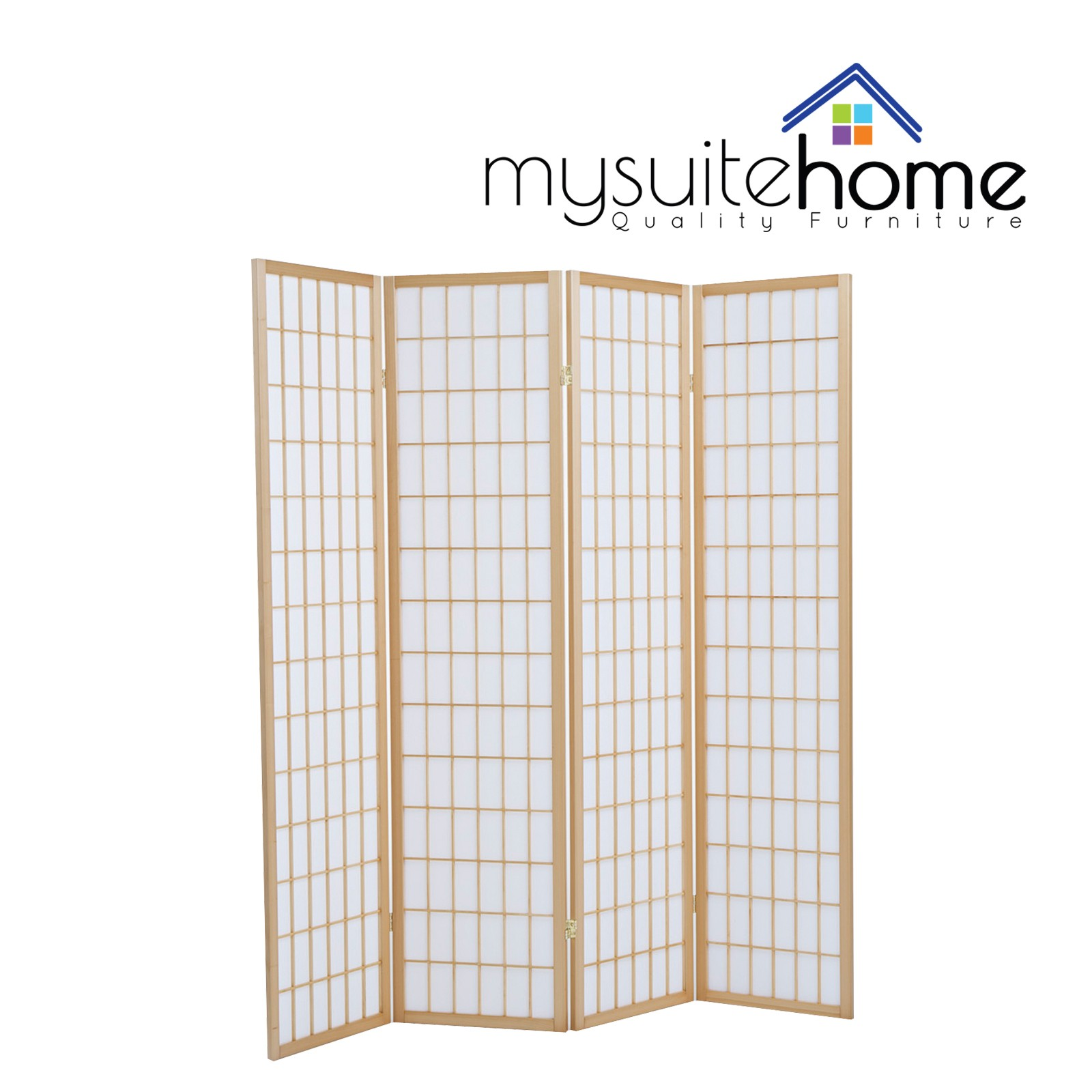 Brand New Timber Wooden Natural 4 Panel Fold Screen Room Divider
