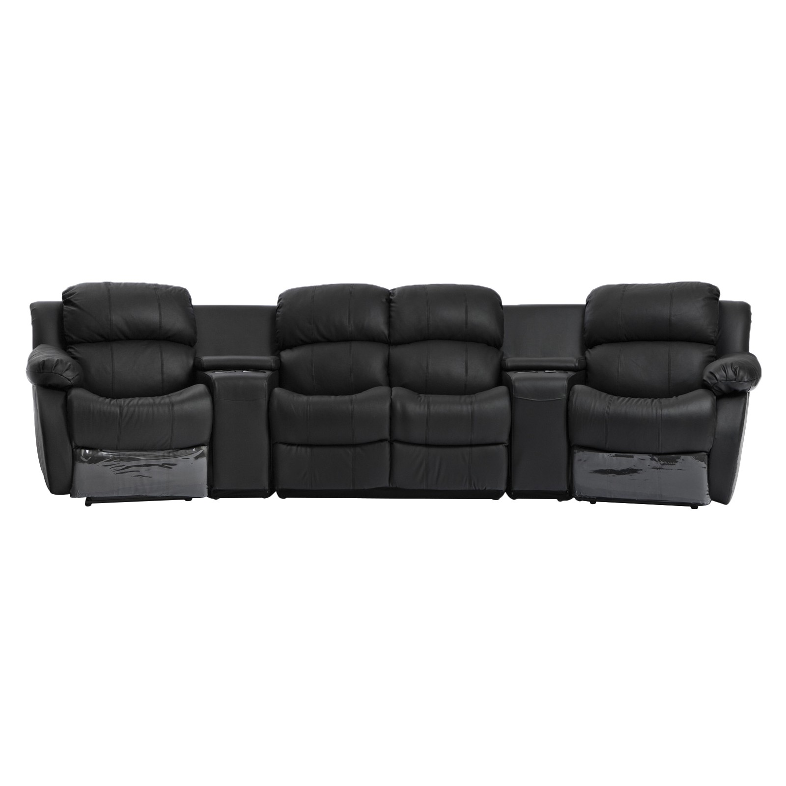 Sofa Bed Home Theater: Nikki Black Leather 4 Seater Home Theatre Lounge Suite 4