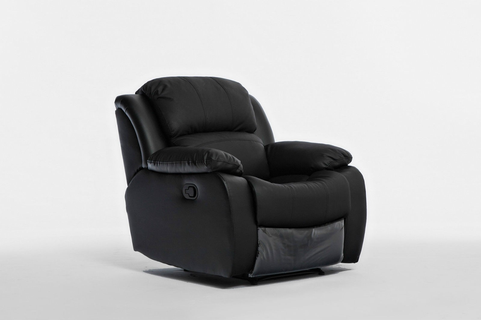 brand new black leather single seater chair recliner couch lounge sofa