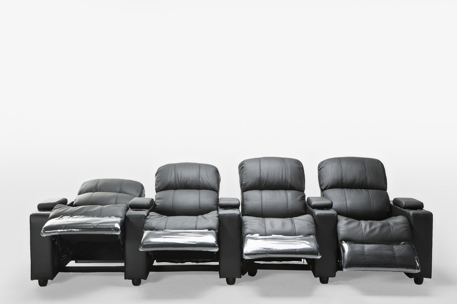 Sophie Black Leather 4 Seater Home Theatre Recliner Lounge