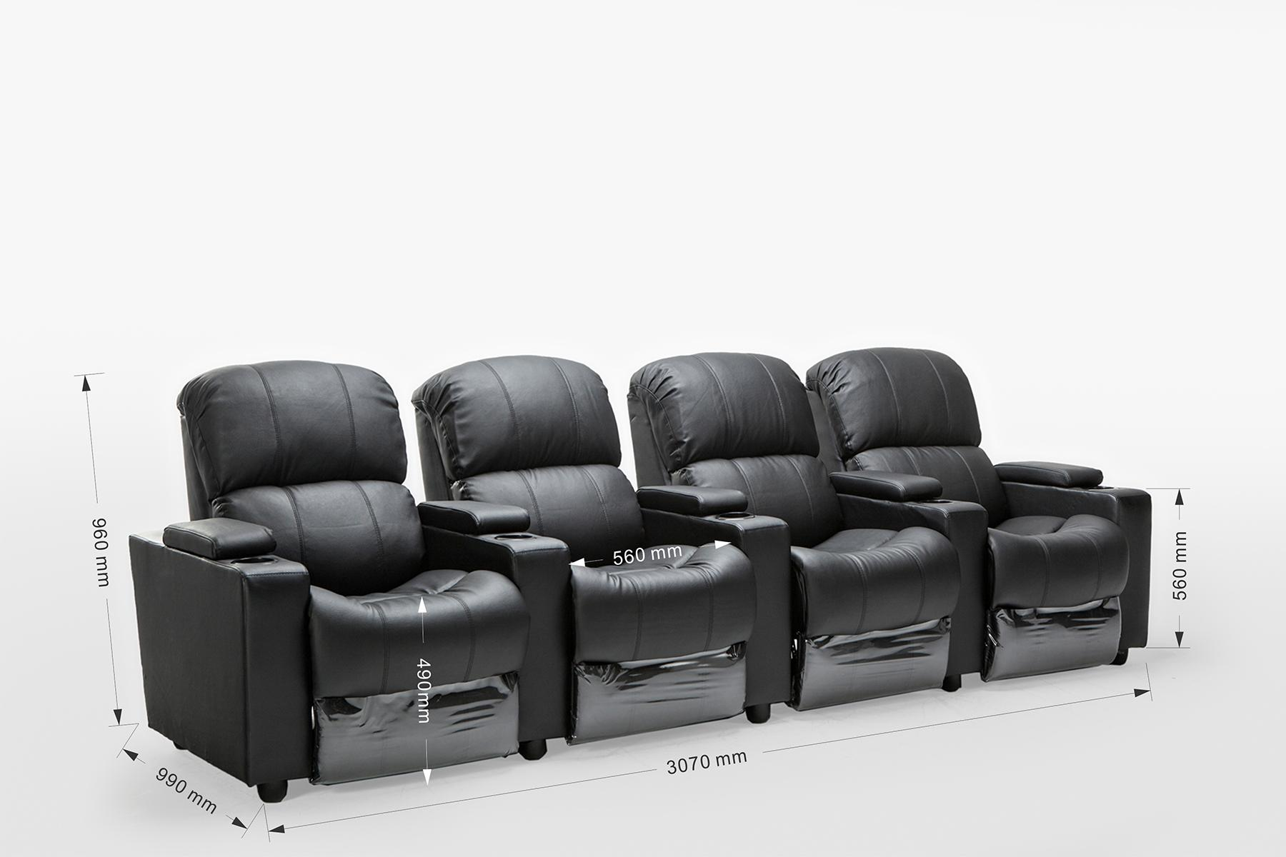 Sophie Leather 4 Seater Home Theatre Recliner Sofa Lounge With Cup Holders  | EBay